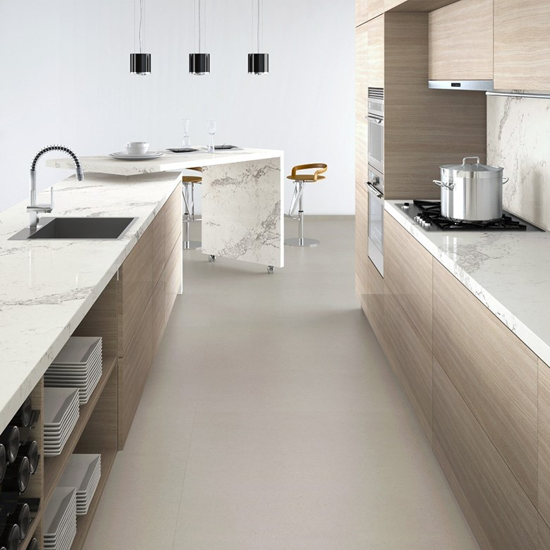 White Kitchen Marble Benchtop: Satuario Acrylic Solid Surface
