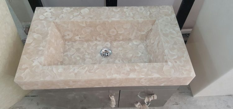 Pink Flora Translucent Stone Basin For Vanity